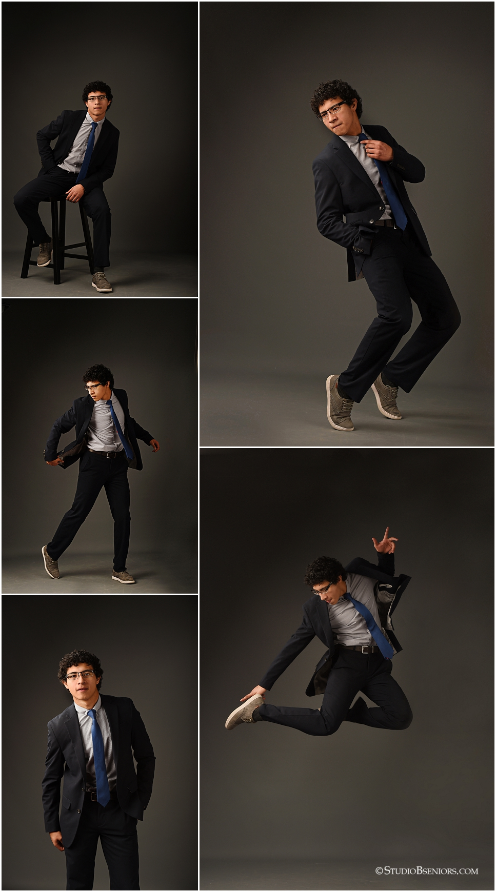 01_Senior pictures of boy dancing and leaping in the a suit and tie at Studio B Portraits_0230