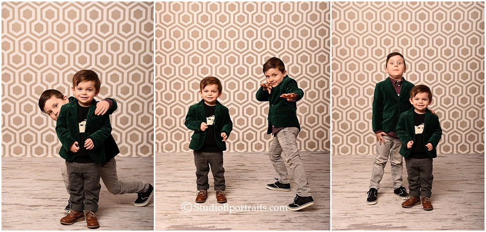 Cute family pictures at Studio B of parents with little boys in green H&M blazers_0236.jpg