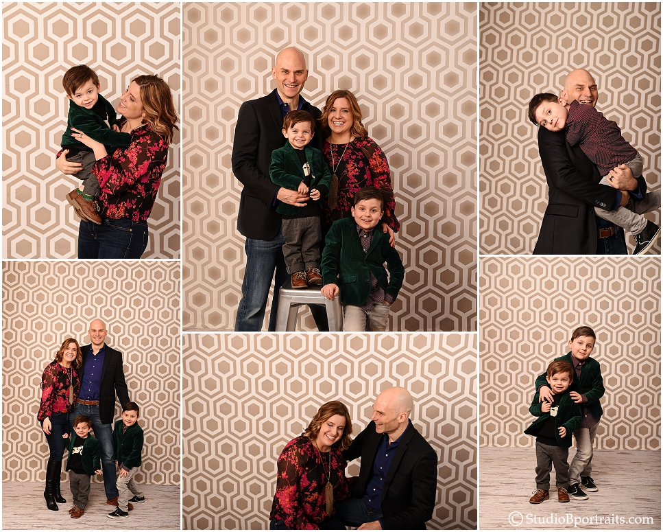 Cute family pictures at Studio B of parents with little boys in green H&M blazers_0238.jpg