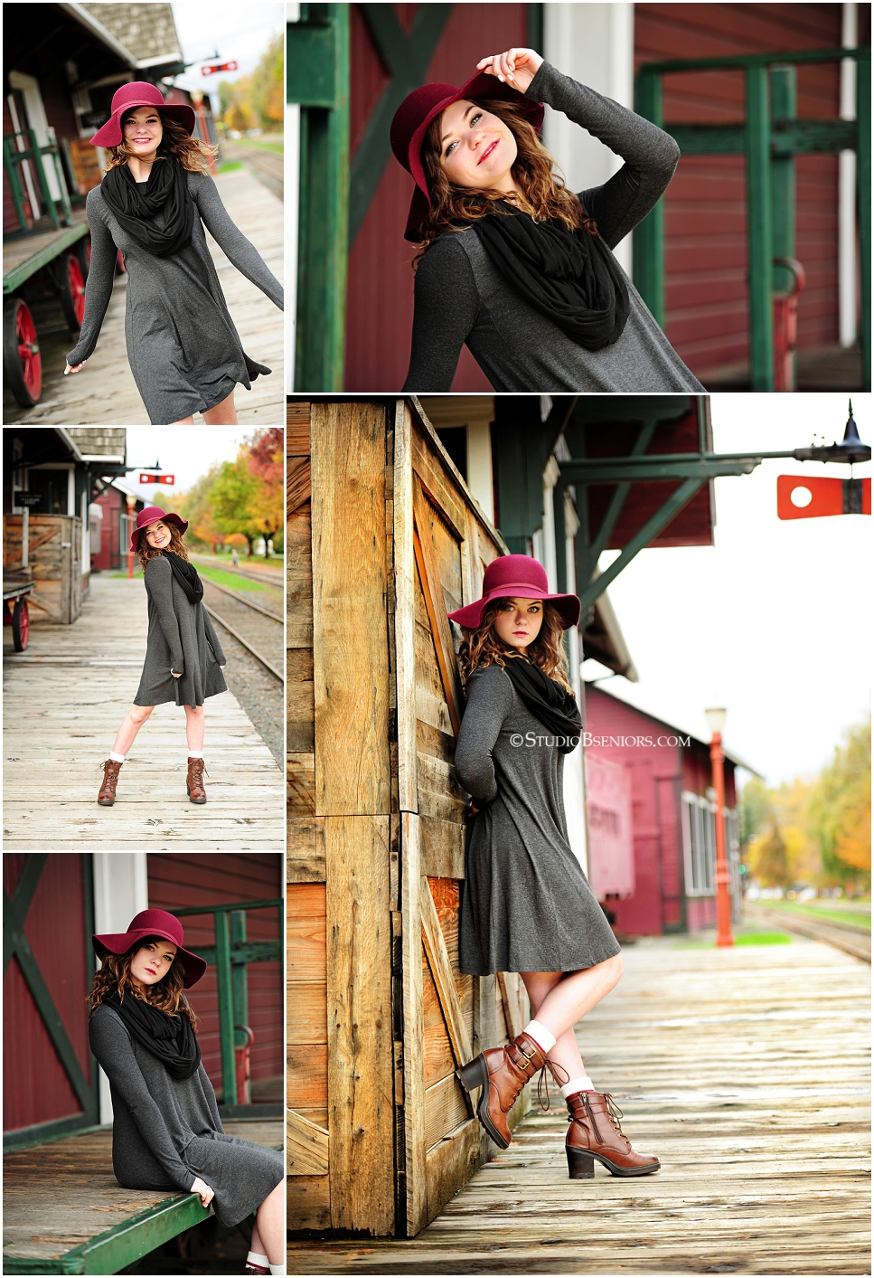 Fashion inspired senior pictures of pretty girl in floppy hat near train station_0231.jpg
