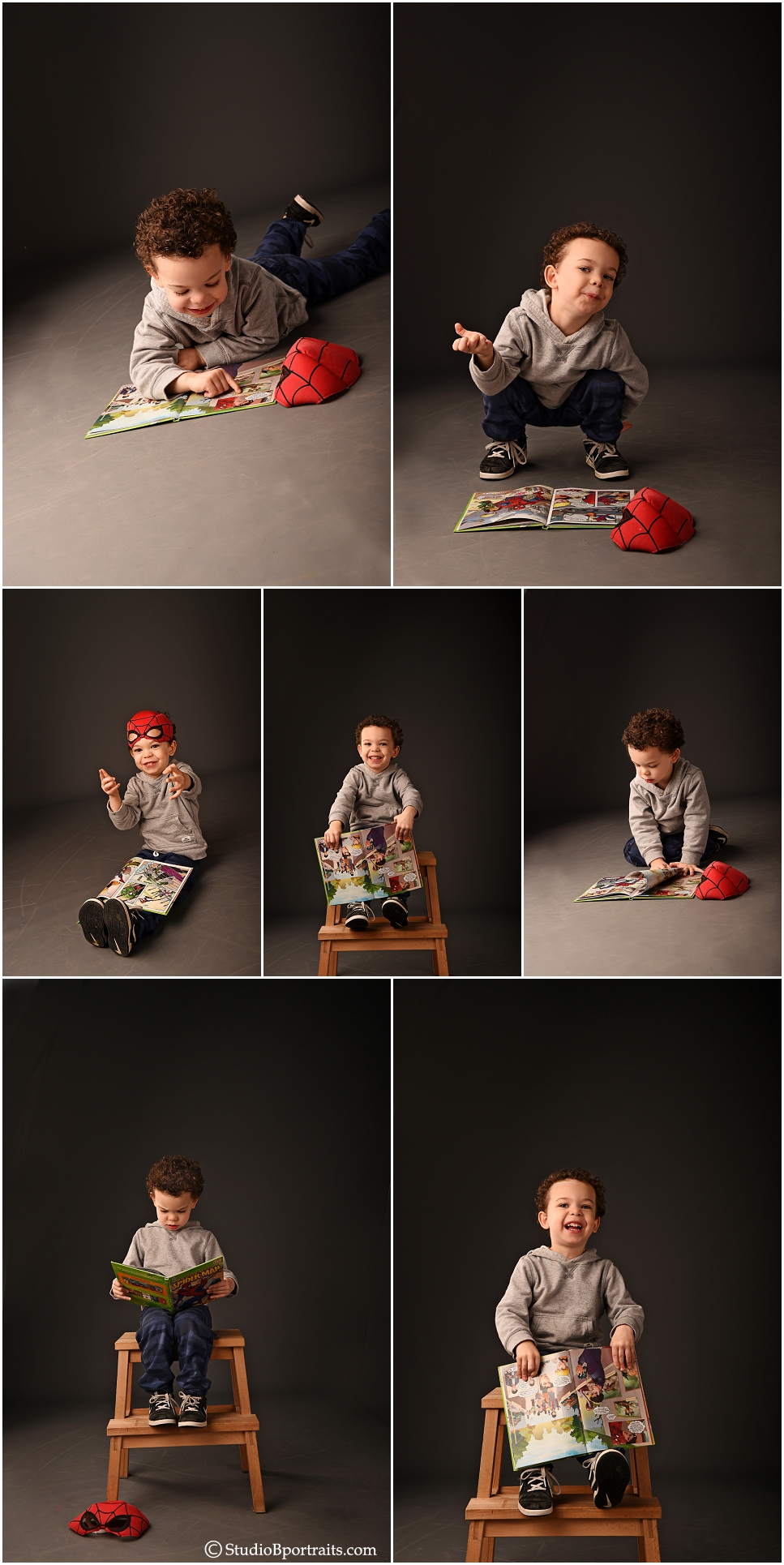 Birthday portraits of 3 year old boy playing with Spiderman book and spiderman mask_0244.jpg