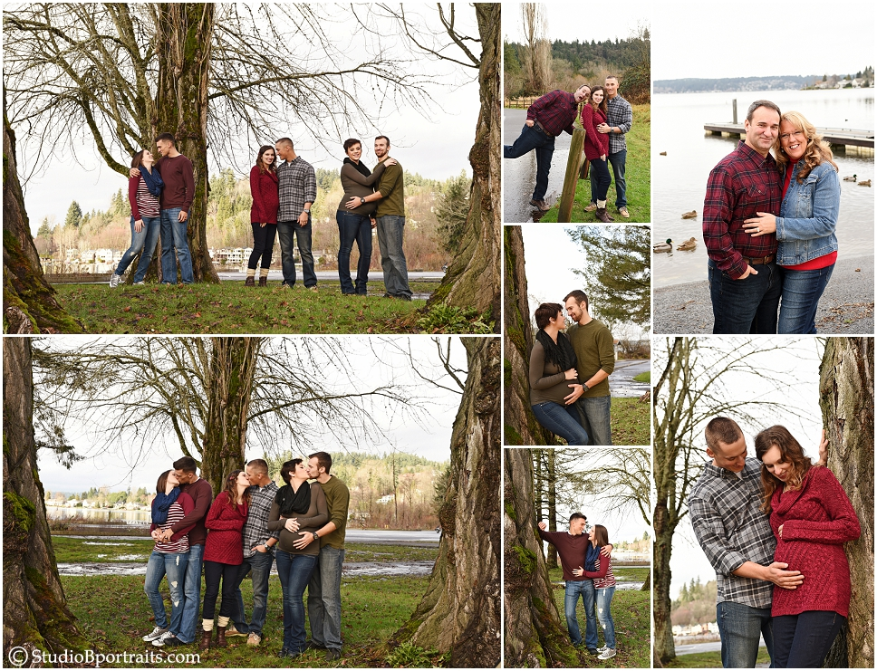 Family portraits at Lake Sammamish with 3 preganant women and husbands_0246.jpg