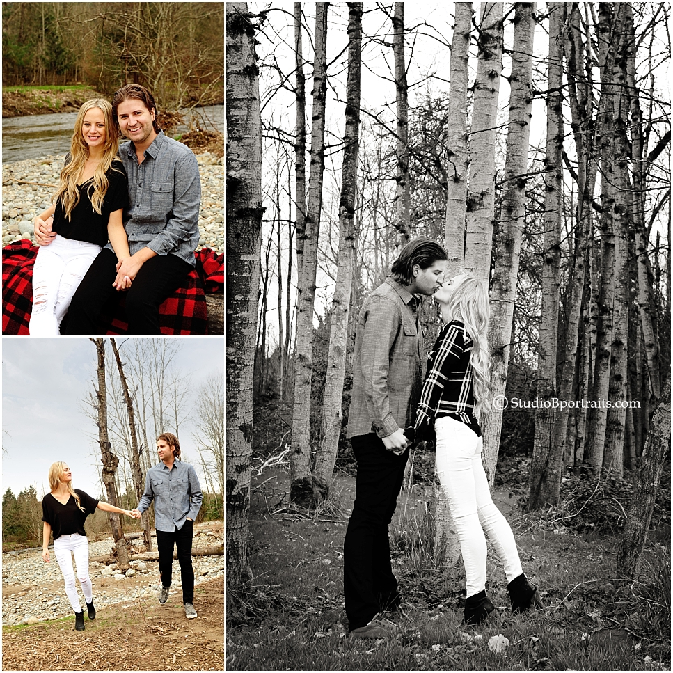 Bellevue Washington Engagment Session of pretty couple in the woods photographed Brooke Clark at Studio B Portraits_0263