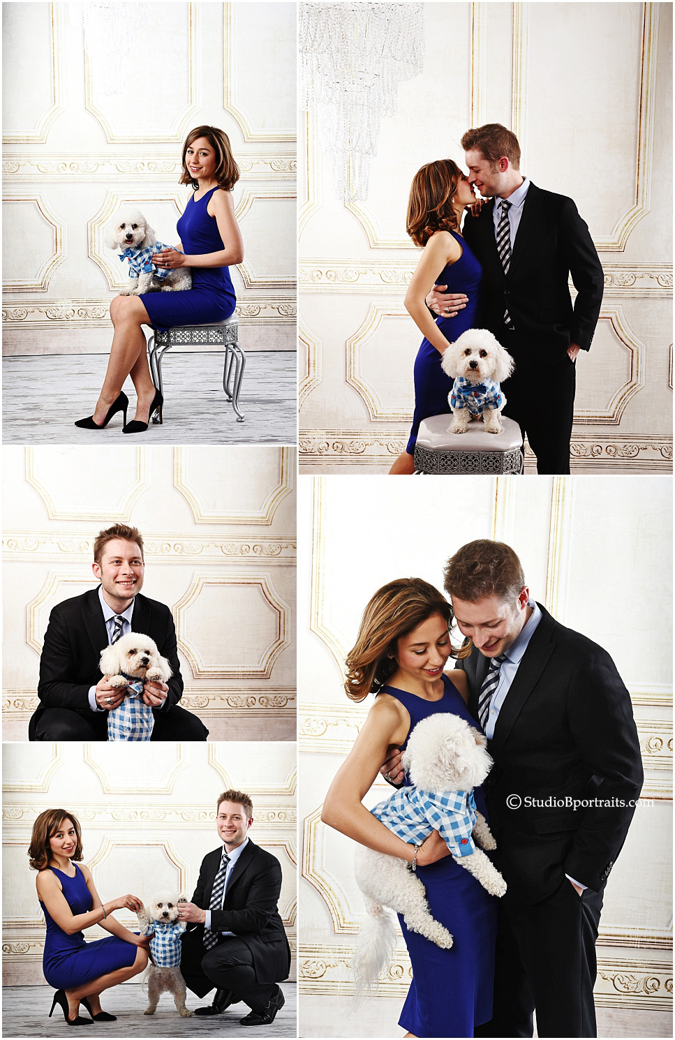 Best portrait studio Seattle_formal couple with dog in tuxedo
