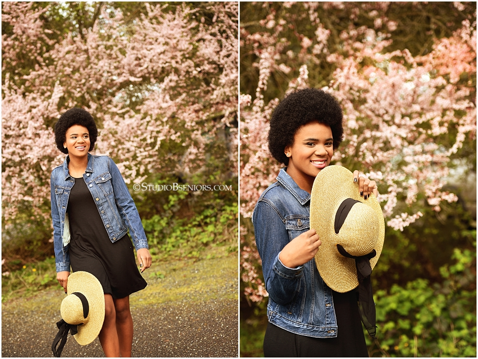Best professional senior pictures of African American girl with pretty afro and jean jacket_0270.jpg
