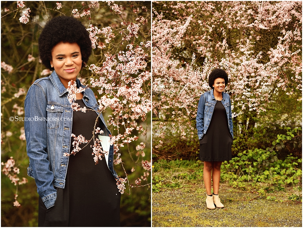Best professional senior pictures of African American girl with pretty afro and jean jacket_0272.jpg