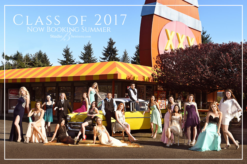 Senior Pictures Seattle featuring vintage car and prom dresses