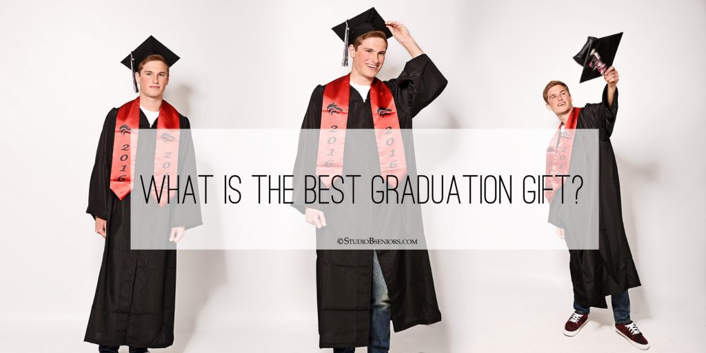 Graduation photo in cap and gown at Studio B Portraits_giveaway