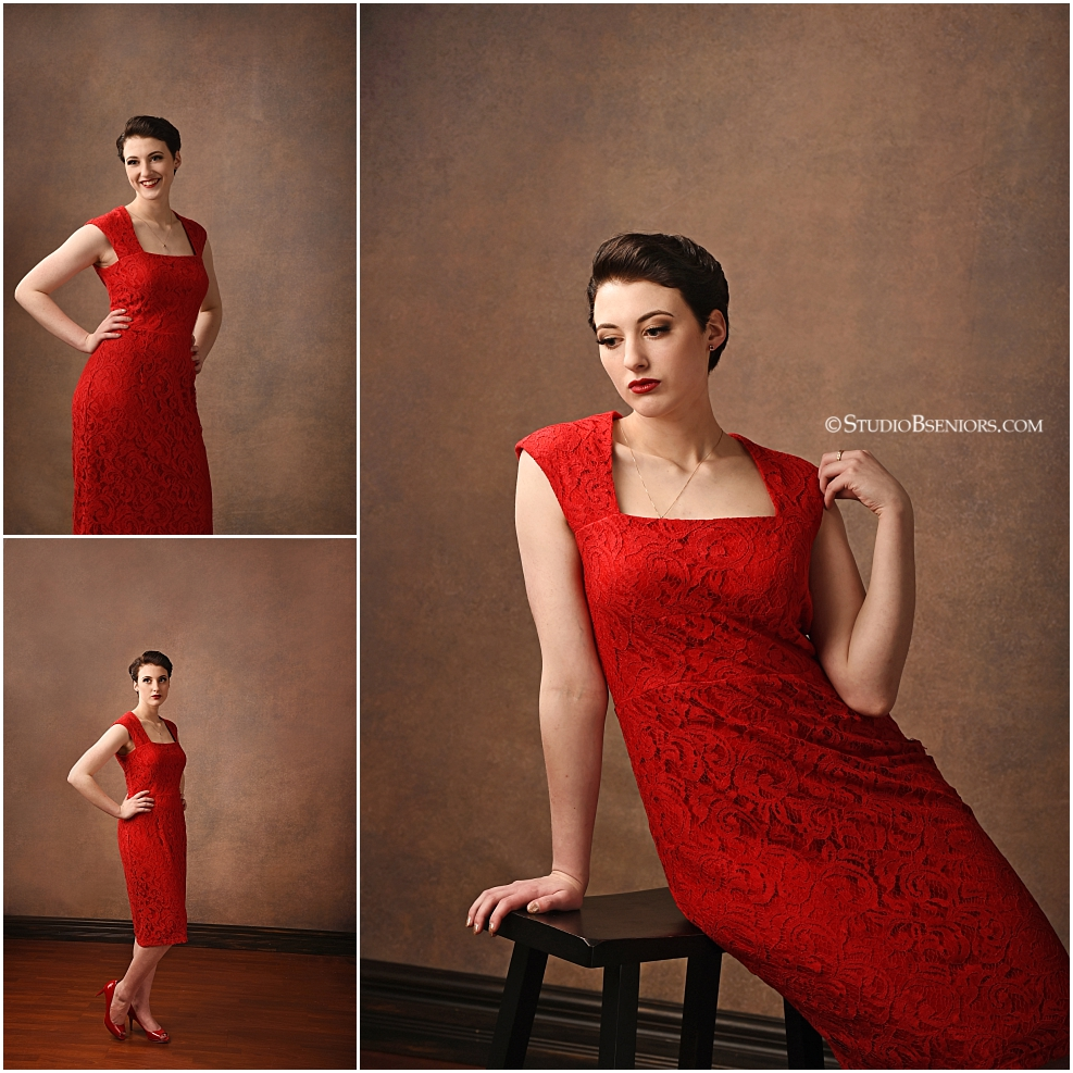 Best senior pictures of girl with vintage style and old Hollywood glamour in red Mod Cloth dress