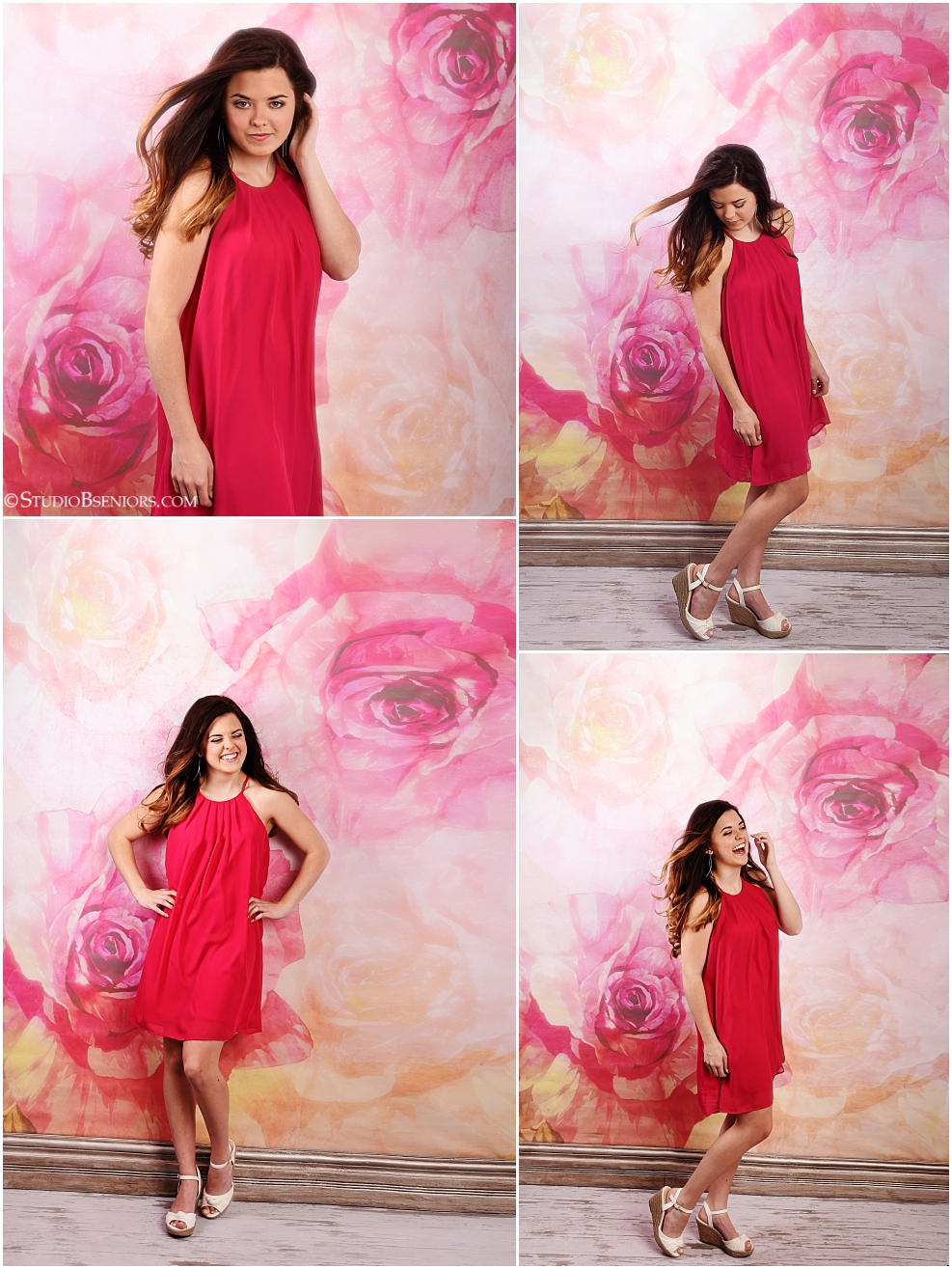 Senior Pictures of pretty brunette in pink dress on floral backdrop at Studio B near Seattle_0319.jpg