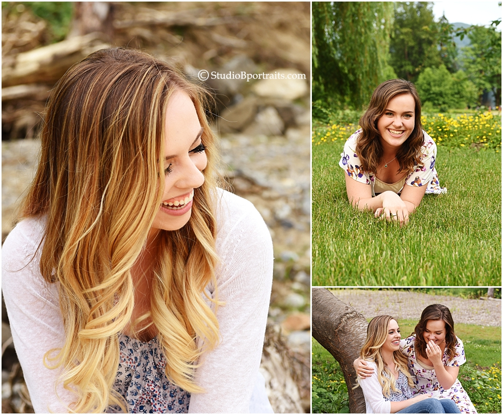 Outdoor family pictures of sisters in a park near Bellevue WA photographed by Brooke Clark
