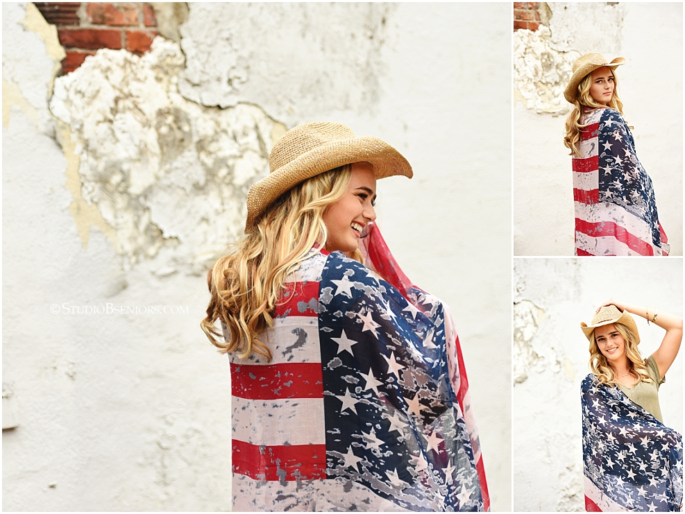 Senior pictures with American flag theme_0366