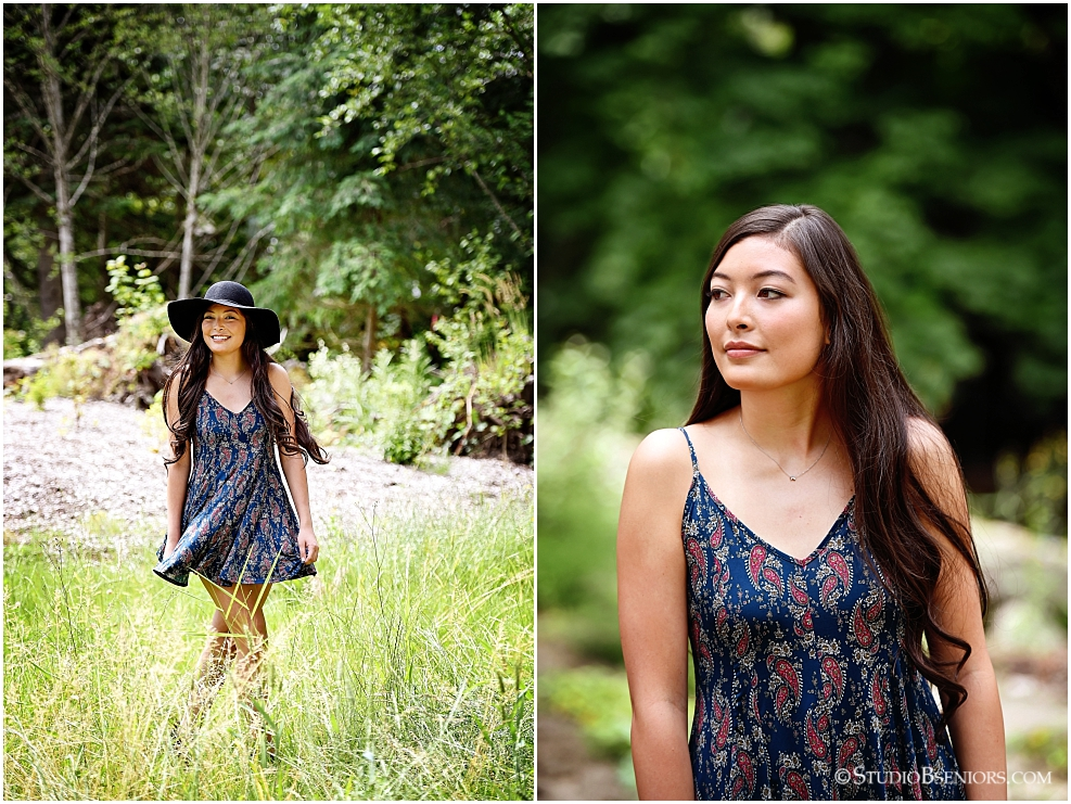 Chic senior pictures in dress and black hat in a field_Studio B Portraits