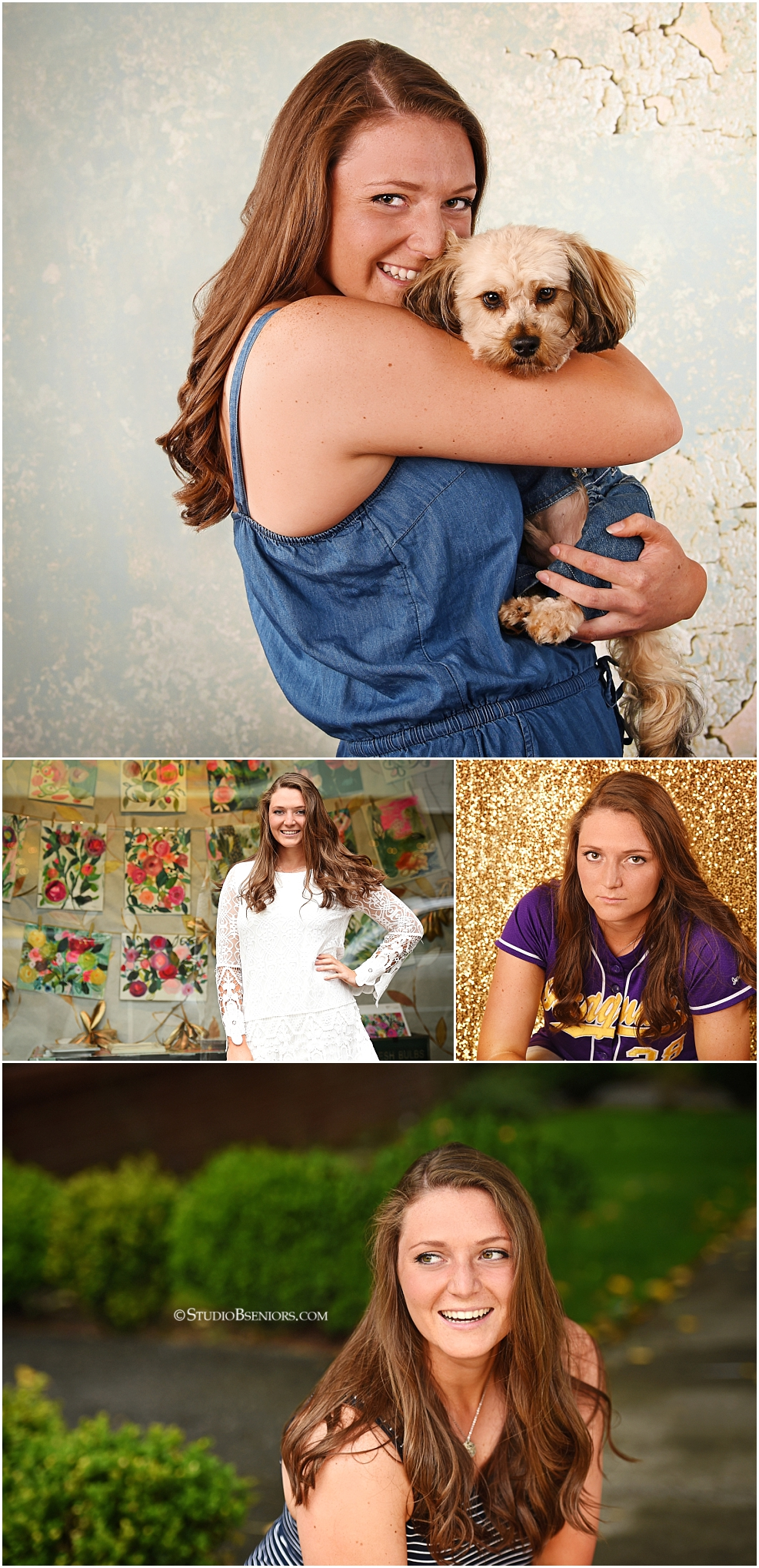 Morgan Bevell senior pictures collage with puppy in matching jean overalls