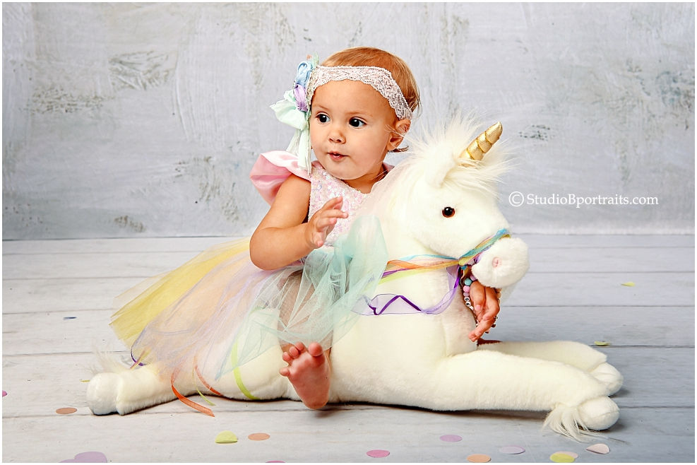 one year portraits with unicorn