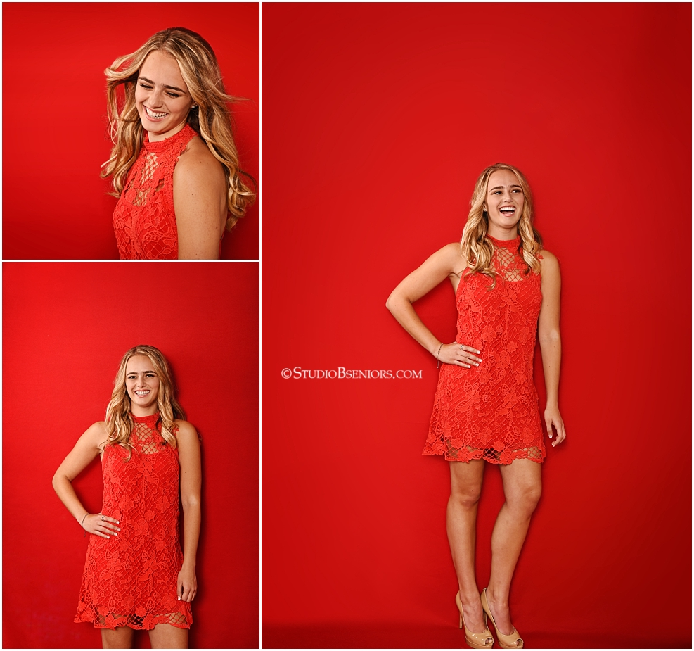 High School Senior Girl in red lace dress on red background