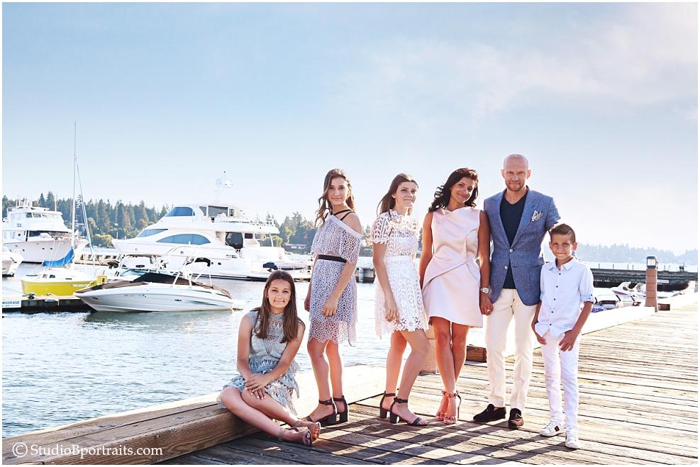 Family portrait at Woodmark Hotel in the Kirkland Marina