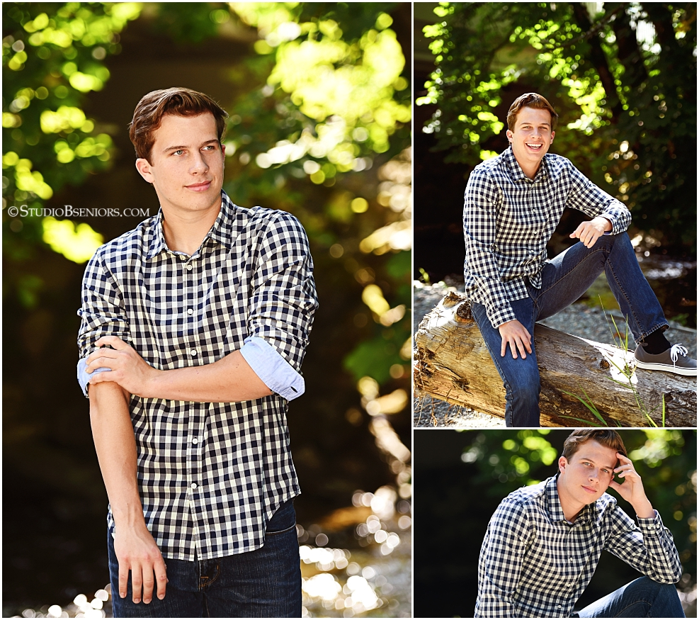 Senior pictures of guy in checked shirt