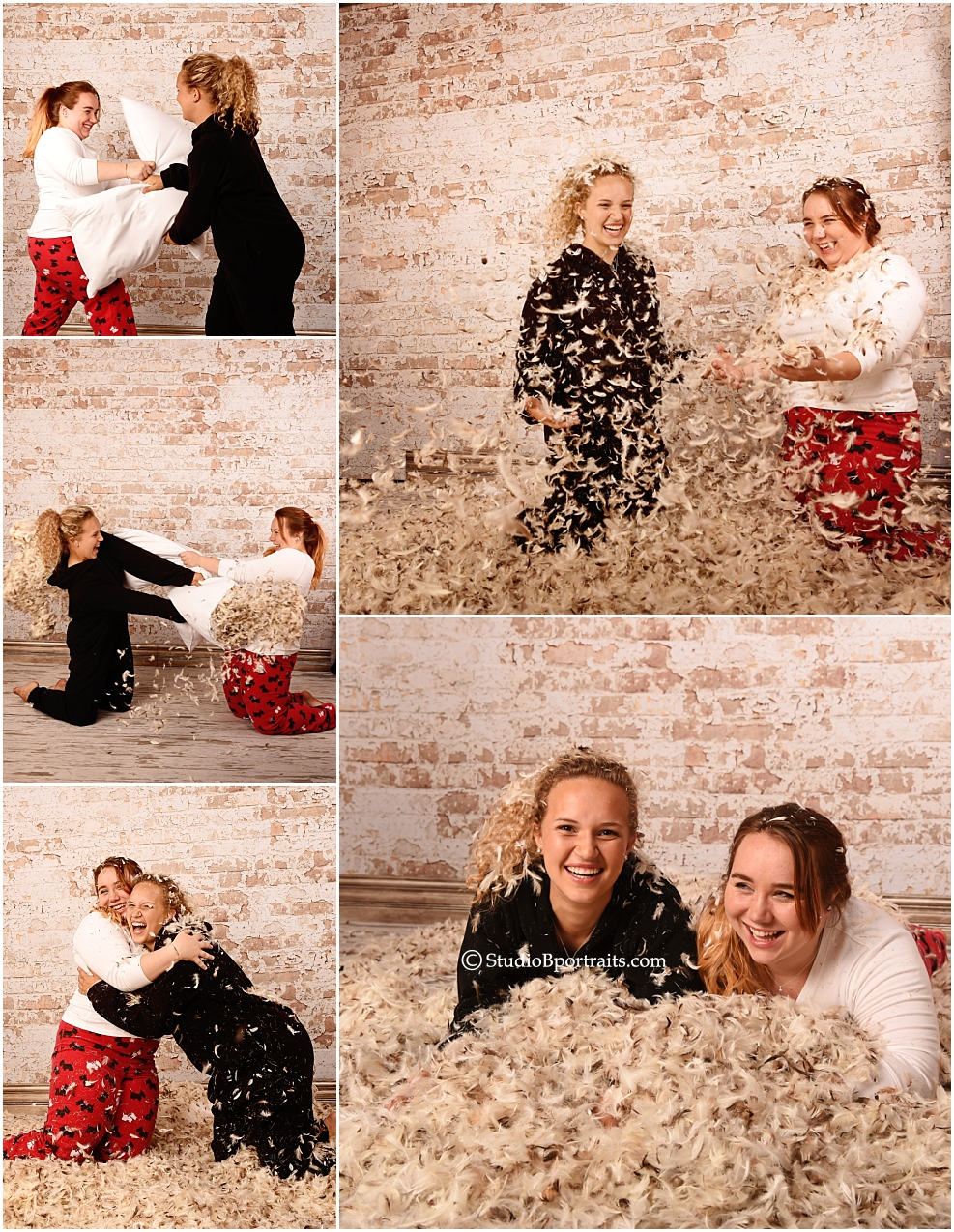 Feathers flying during faily portrait pillow fight
