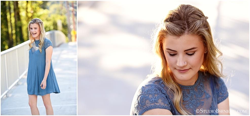 Bellevue High School girl in blue dress