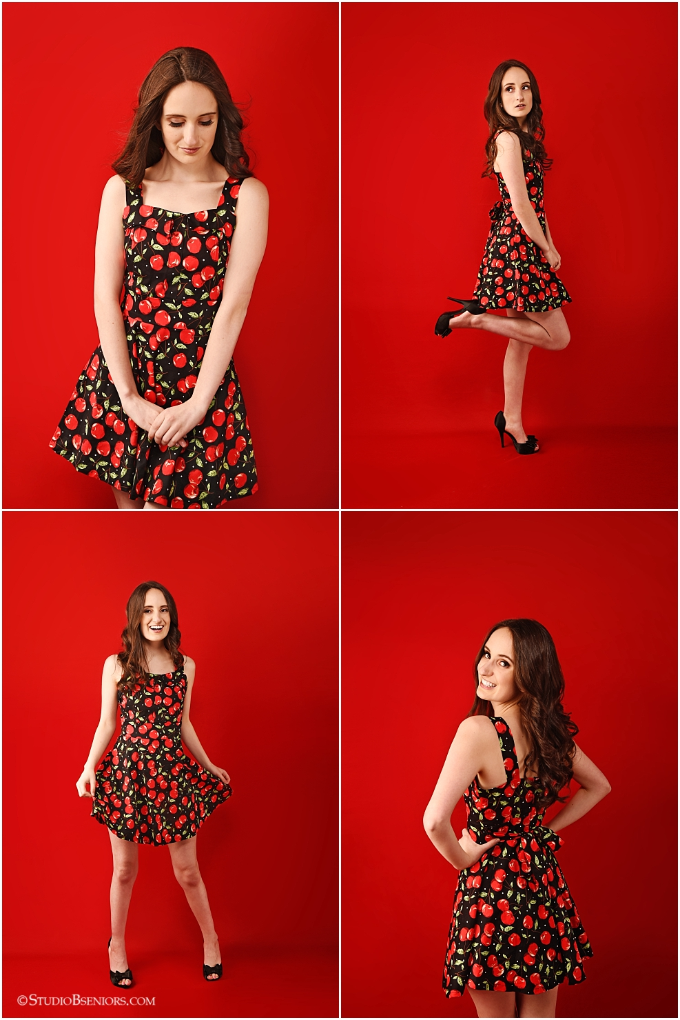 Super cute high school girl in vintage cherry dress
