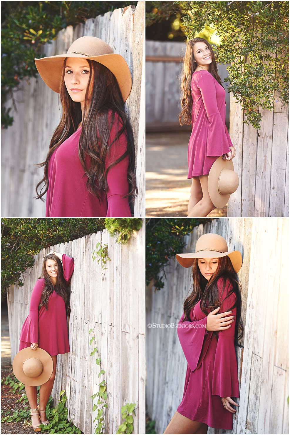 fashion-inspired-senior-pictures-of-girl-in-maroon-dress-and-hat