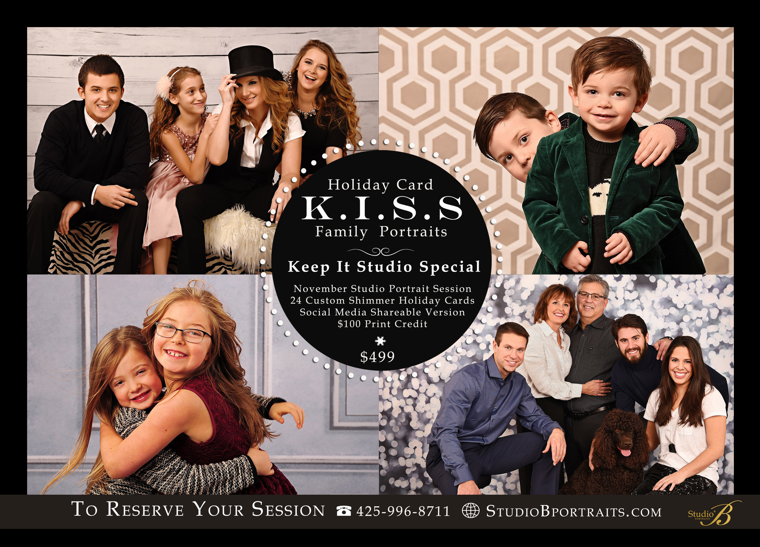 Holiday Family Portrait Special at Studio B in Issaquah