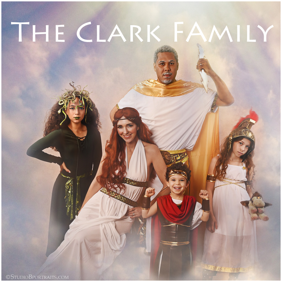 Greek Gods Family Halloween Costumes featuring Brooke Clark and Family photographed at Studio B Portraits