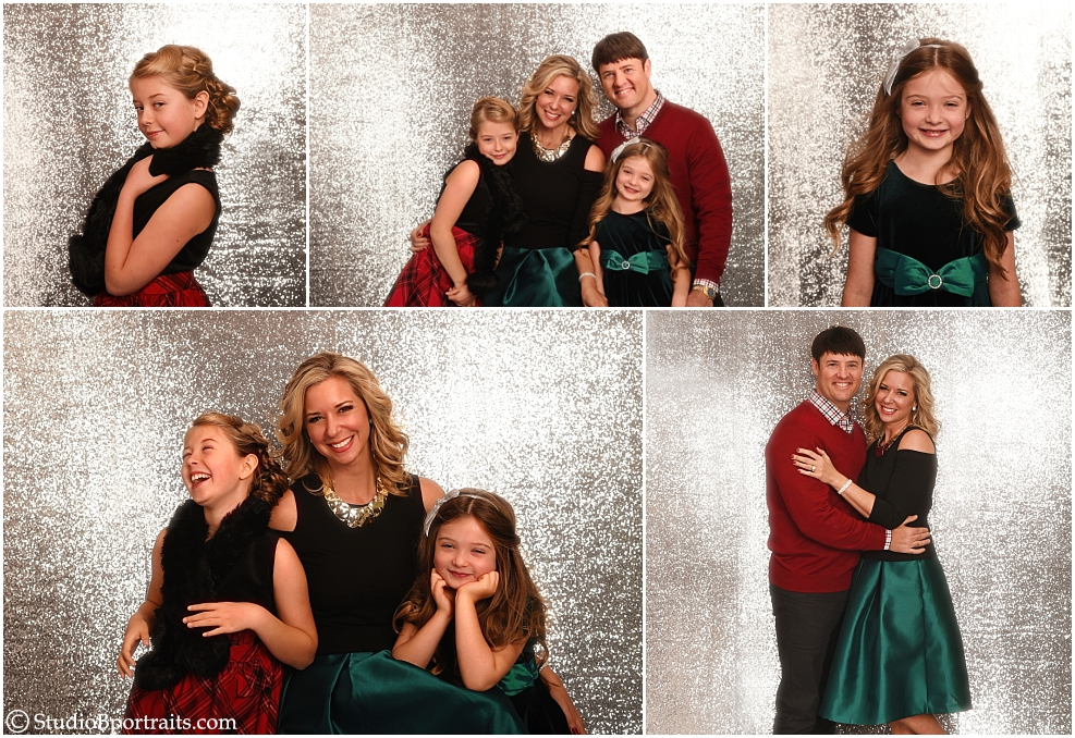 Formal Christmas Family Portraits on silver glitter backdrop