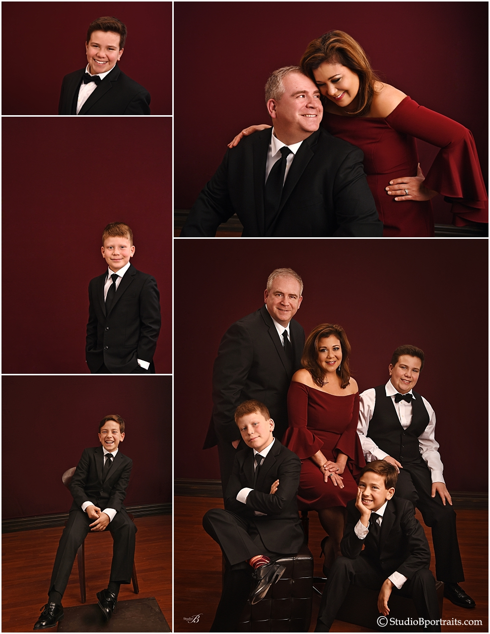 Black Tie and Burgundy for Formal Holiday Family Portraits