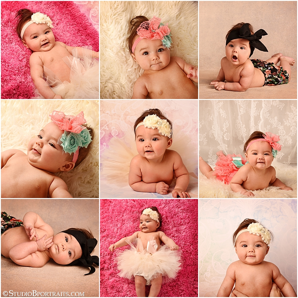 Baby portraits of 5 month old girl in tutu_photographed by Brooke Clark at Studio B