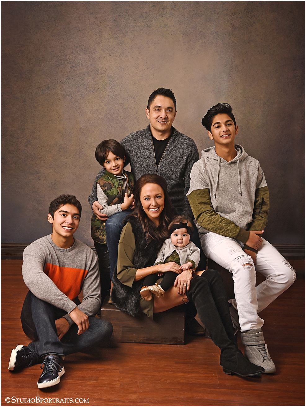 contemporary family portrait in studio