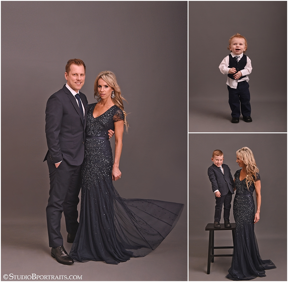 Beautiful couple photographed with children for formal family portraits