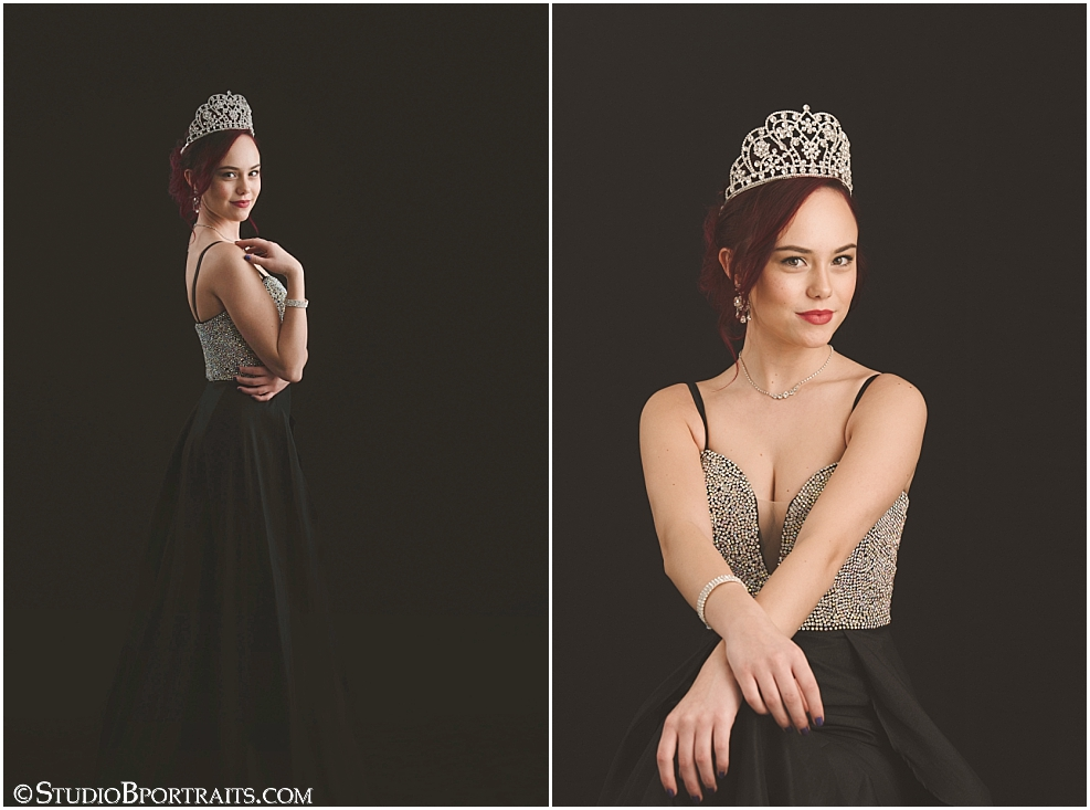 Studio B Portraits photography of Miss Washington Ty Taucher in crown tiara and black formal dress