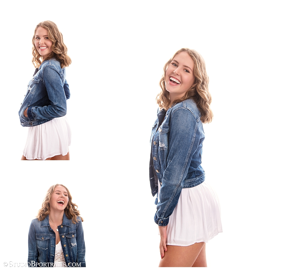 Studio B Portraits Senior pictures of pretty girl in white dress and denim jacket_0083.jpg