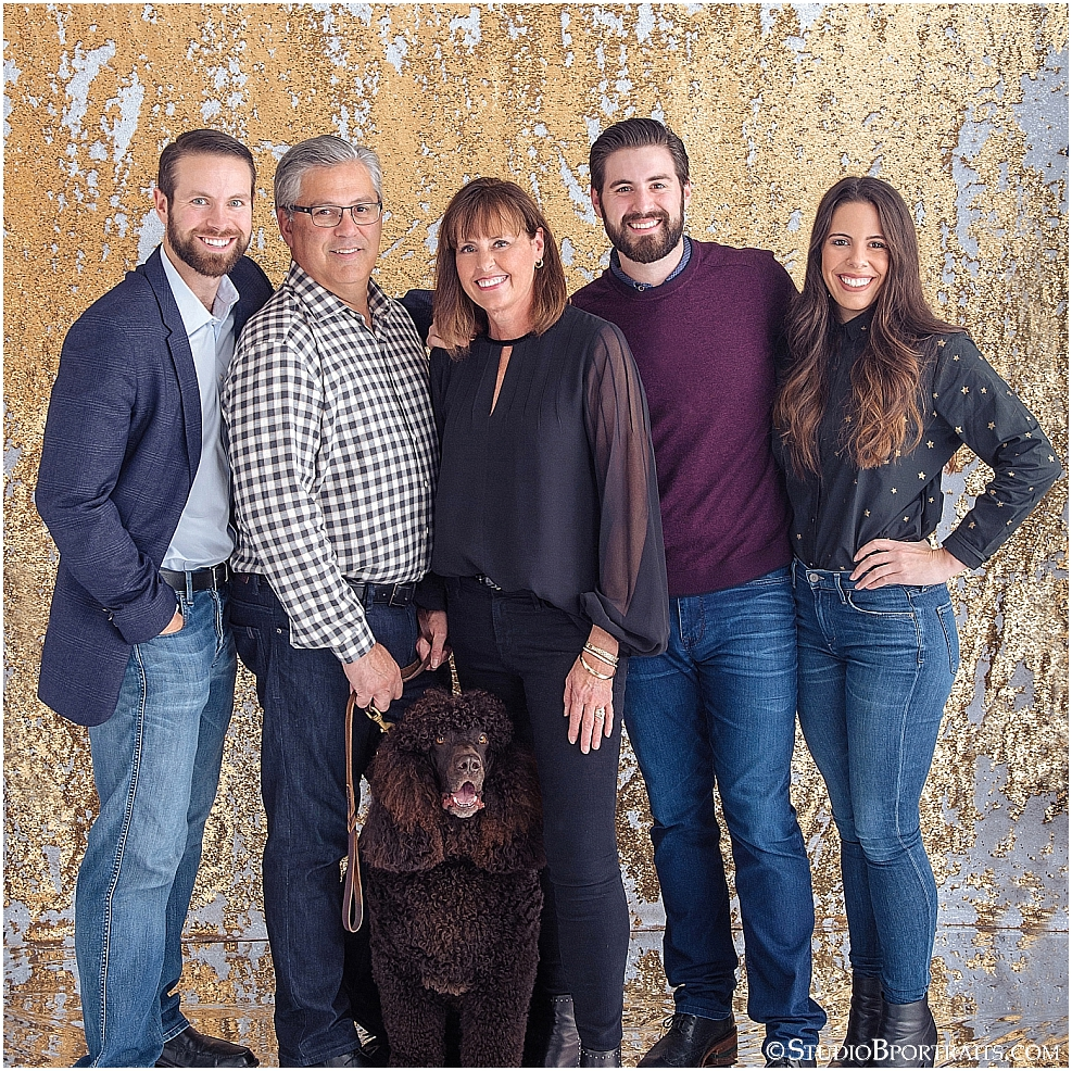 Studio B Portraits best holiday family pictures on gold glitter backdrop with poodle_0095.jpg