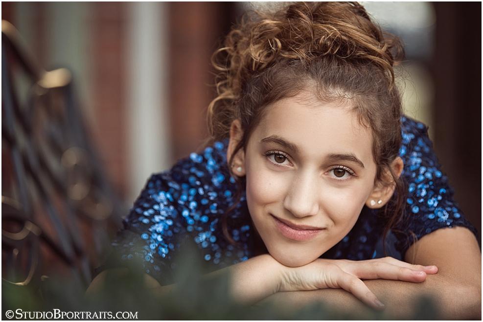 Studio B Portraits picture of tween girl in sparkle navy blue top.jpg