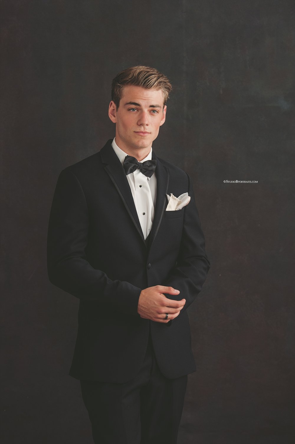 Studio B Portraits_Vanity Fair inspired senior pictures in formal gown and tux_0093.jpg