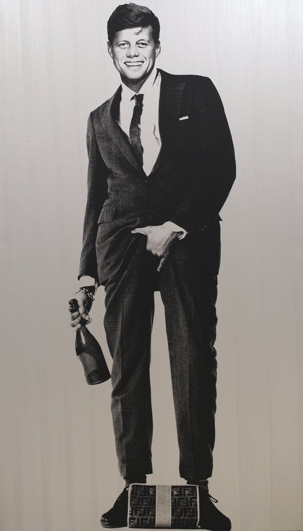 COJONES JFK, SILVER by Knowledge Bennett    84 x 48 inches