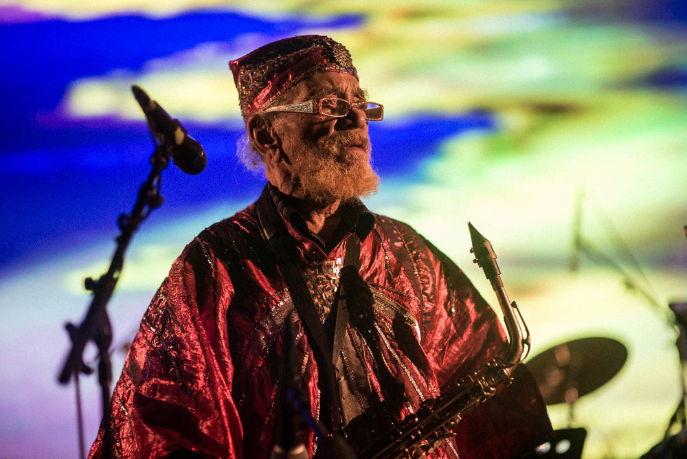 "Marshall Allen, bandleader of The Sun Ra Arkestra during ""Interference A.V."" on Tuesday, February 20, 2018 Wednesday, February 21, 2018."