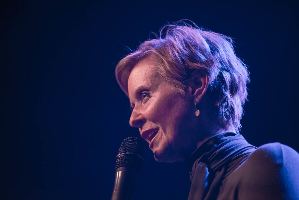 New York gubernatorial Candidate Cynthia Nixon at Irving Plaza on April 9, 2018.