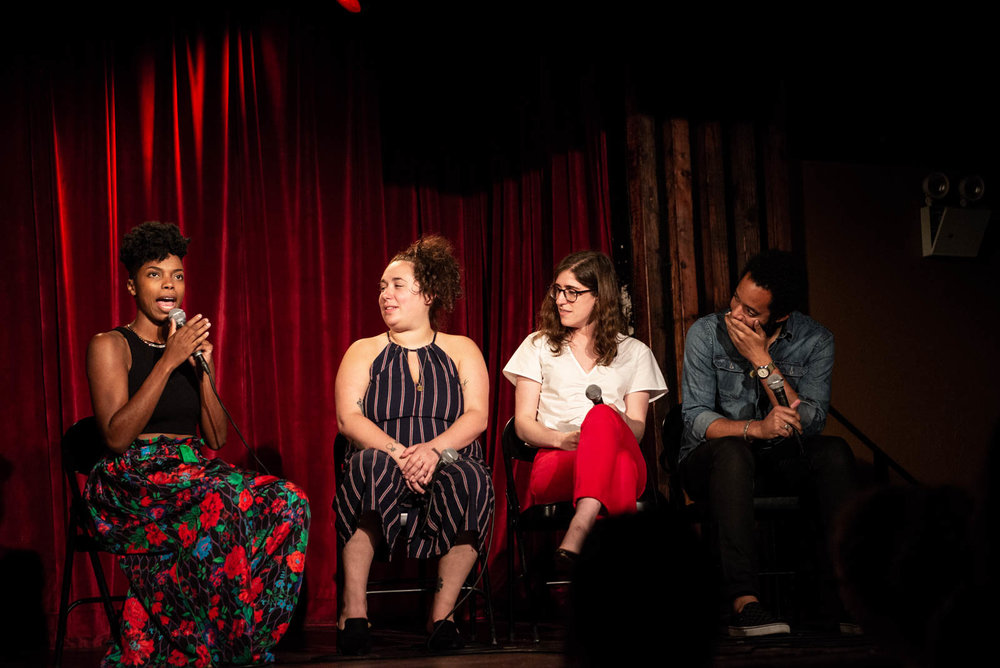 """Sasheer Zamata, Liza Treyger, Emmy Blotnick, and Wyatt Cenac during """"Two Truths and a Lie""""at The Final Sasheer Zamata Party Time at The Bell House on Sunday, July 15, 2018."""
