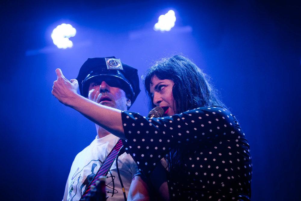 Oren Bloedow and Jennifer Charles of Elysian Fields performing at Brooklyn Steel on Sunday, September 16, 2018.