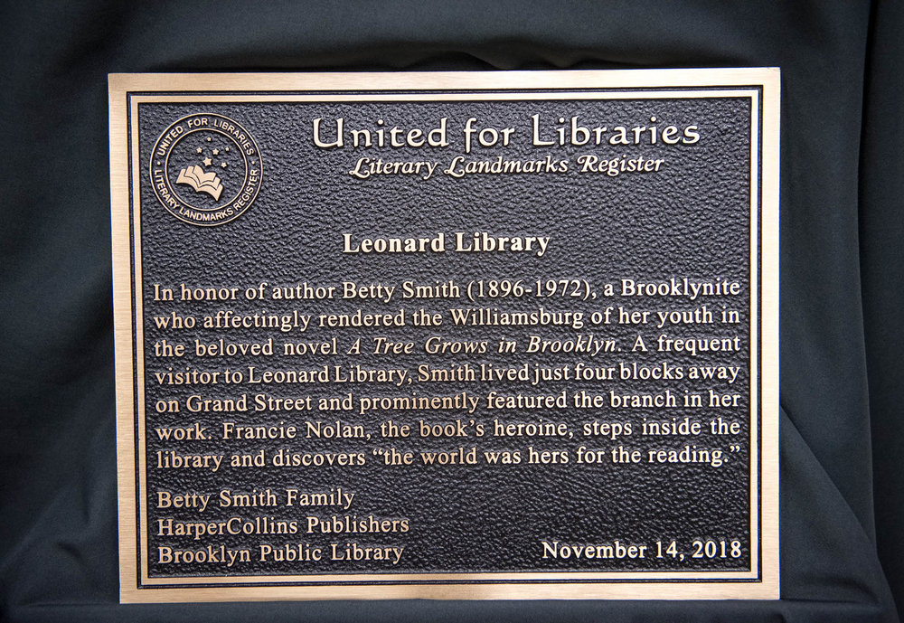 Betty Smith/Leonard Library Literary Landmark plaque