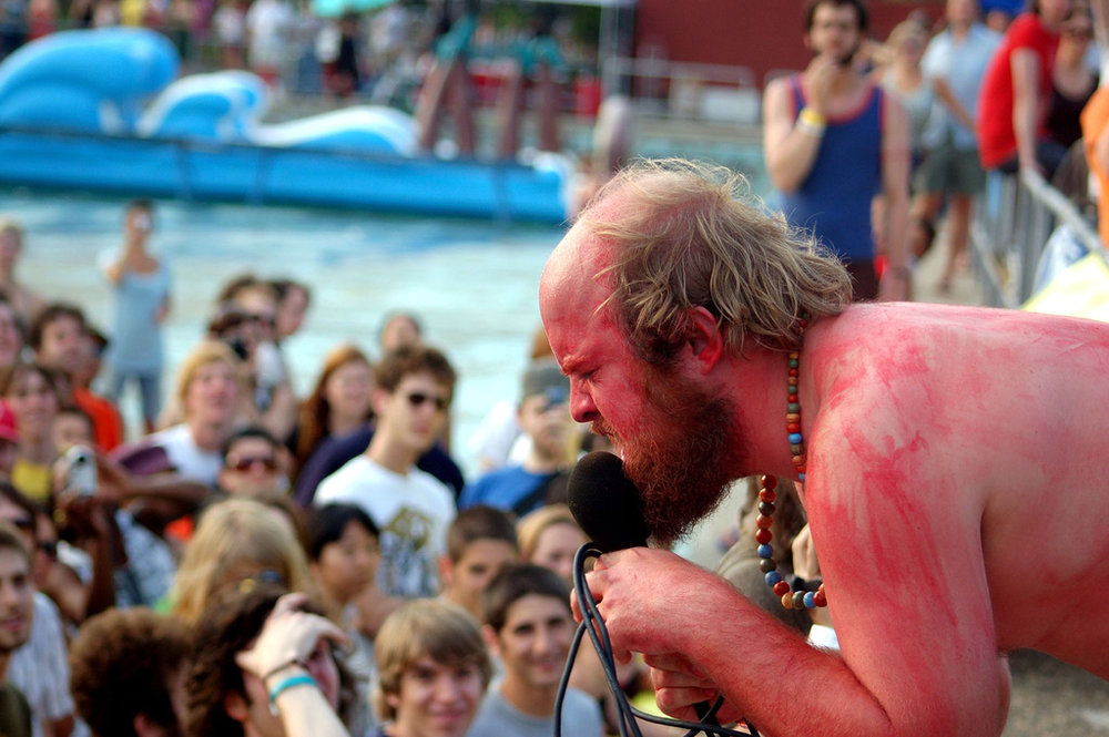 Tim Harrington of  Les Savy Fav  performs on July 9, 2006 at McCarren Park Pool.