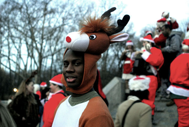 One of the few Rudolphs at  Santacon  in Central Park on Saturday, December 16, 2006.