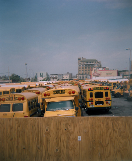 School buses in a lot at Coney Island