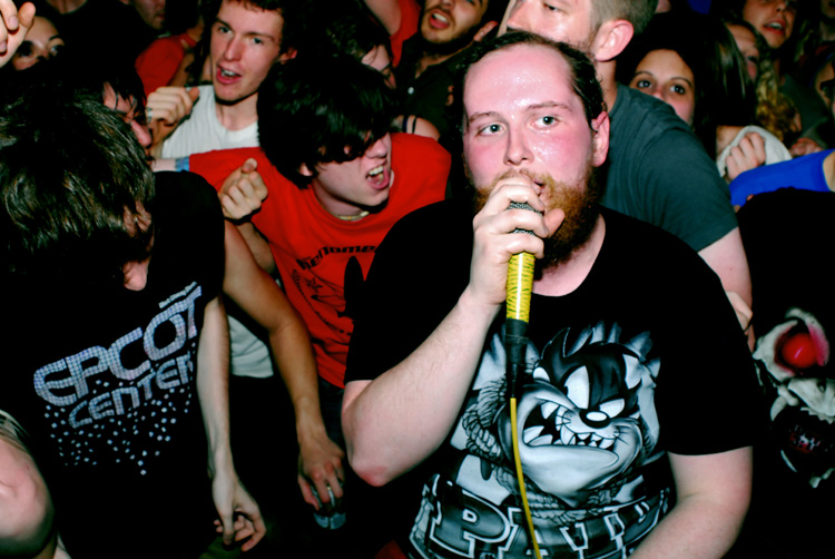 Dan Deacon performs with fans on Saturday, April 19, 2008 at Baltimore, MD's Copycat Annex.