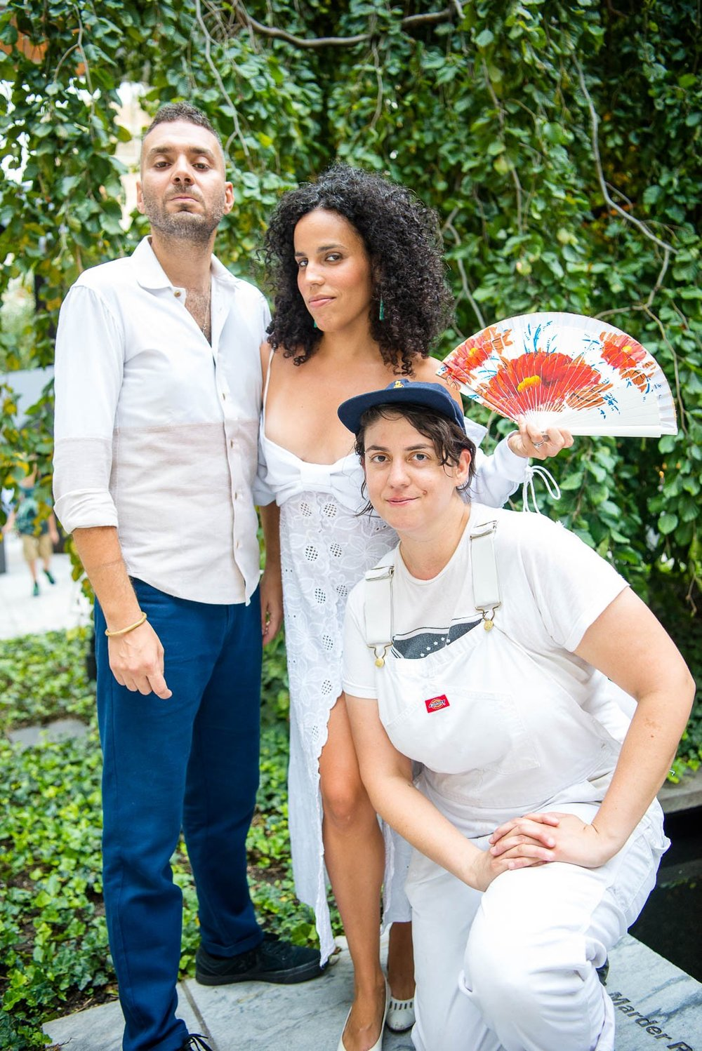 Marco Buccelli, Maia McDonald and  Xenia Rubinos after their performance in MoMA's sculpture garden on Thursday, August 8, 2018.