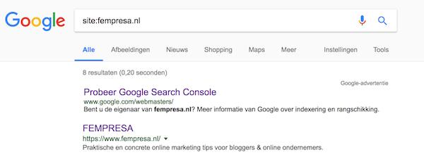 site: zoekterm Google